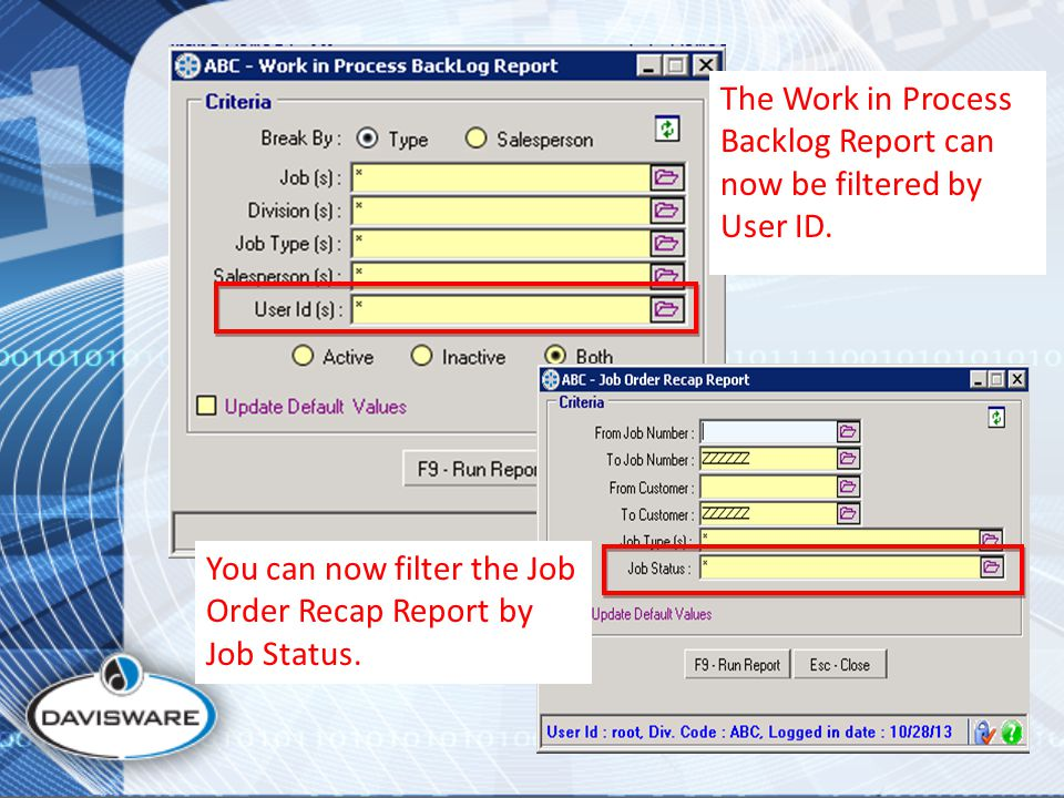 The Work in Process Backlog Report can now be filtered by User ID.