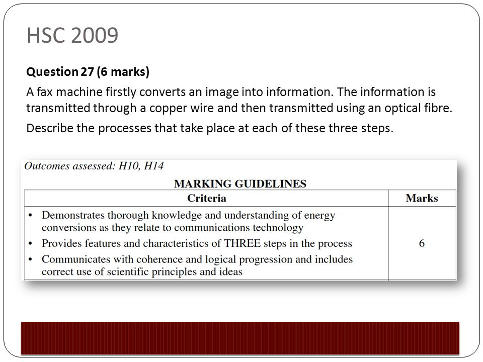 HSC 2009 Question 27 (6 marks) A fax machine firstly converts an image into information.