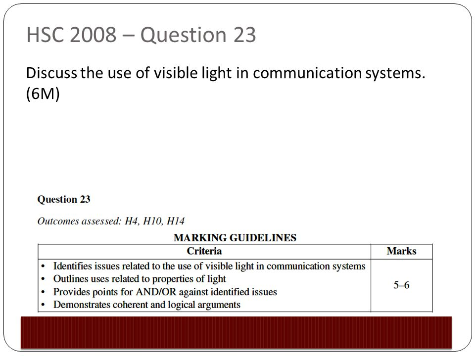 HSC 2008 – Question 23 Discuss the use of visible light in communication systems. (6M)