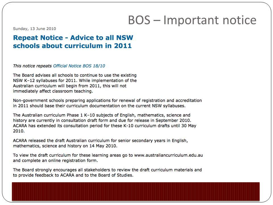 BOS – Important notice