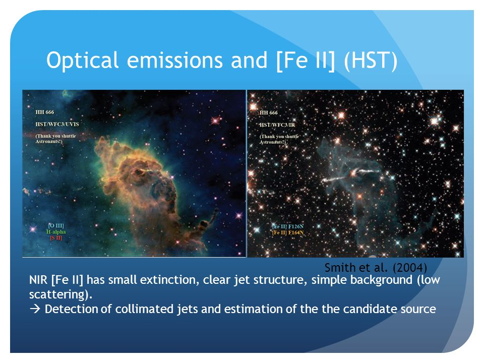 Eg.) HH902, HHc-1 (Carina Nebula) 9 Faint but sharp jet of HH901 Long and sharp HH902 [FeII] jet and HHc-1 fossil flow Marginal Detection of [Fe II] Jets IRIS2/AAO Bad Seeing: 1.5- 2.3 30 min on-source time
