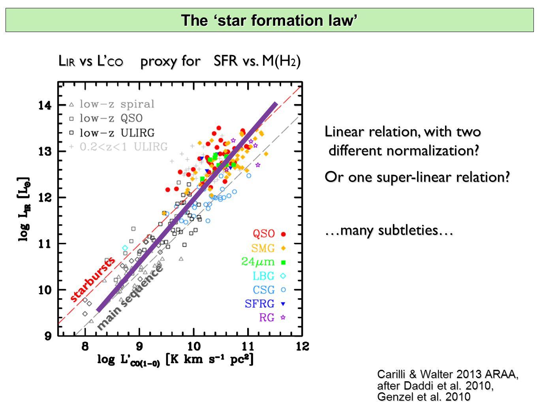 Carilli & Walter 2013 ARAA, after Daddi et al. 2010, Genzel et al.