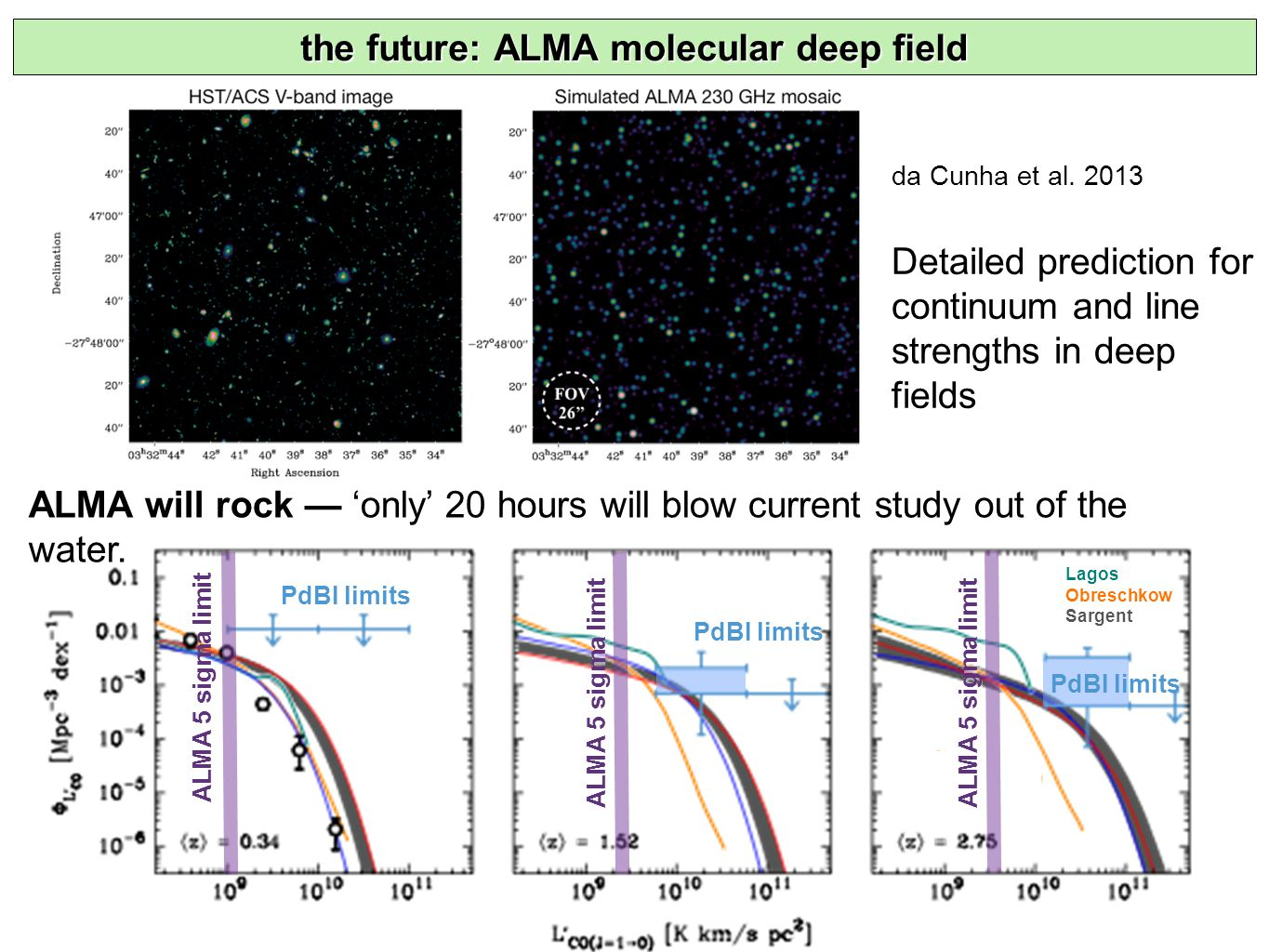 ALMA 5 sigma limit PdBI limits Lagos Obreschkow Sargent the future: ALMA molecular deep field ALMA will rock — 'only' 20 hours will blow current study out of the water.