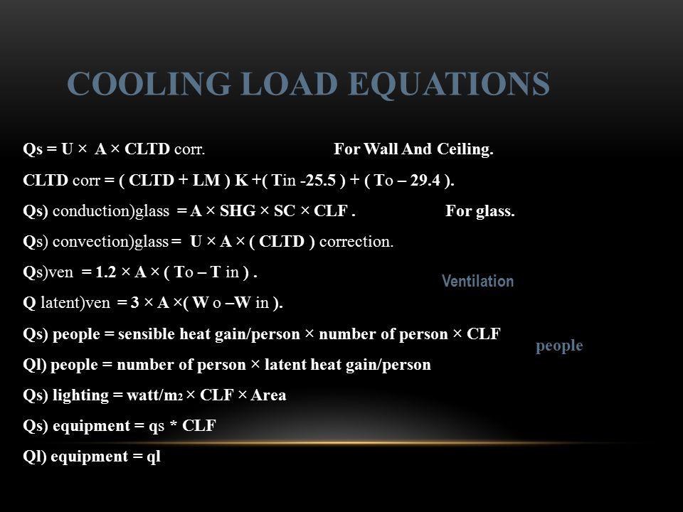 Qs = U × A × CLTD corr. For Wall And Ceiling. CLTD corr = ( CLTD + LM ) K +( Tin -25.5 ) + ( To – 29.4 ). Qs) conduction)glass = A × SHG × SC × CLF. F