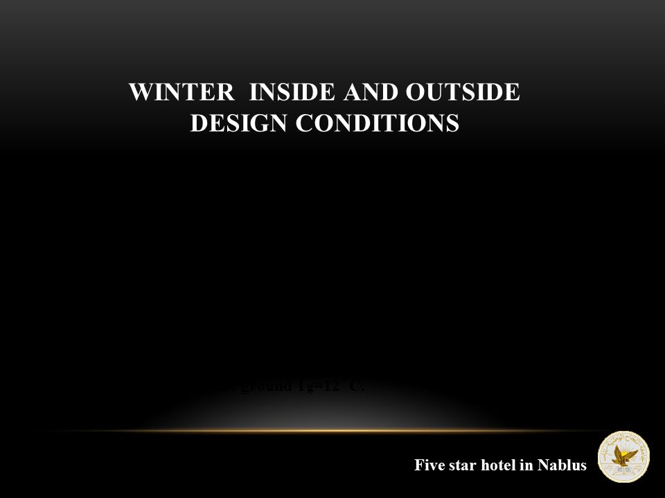 WINTER INSIDE AND OUTSIDE DESIGN CONDITIONS  Outside temperature To=4.7 ˚C.  Inside temperature Ti=21 ˚C.  Outside Relative humidity Ф o =72%.  In