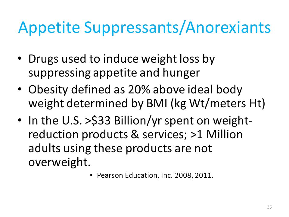 Appetite Reduction 1970's-amphetamines/dextramphetamines (Dexadrine): highly addictive—Rarely prescribed now 1990's-fenfluramine & phentermine (fen-phen): heart valve defects from fenfluramine—removed from market 37