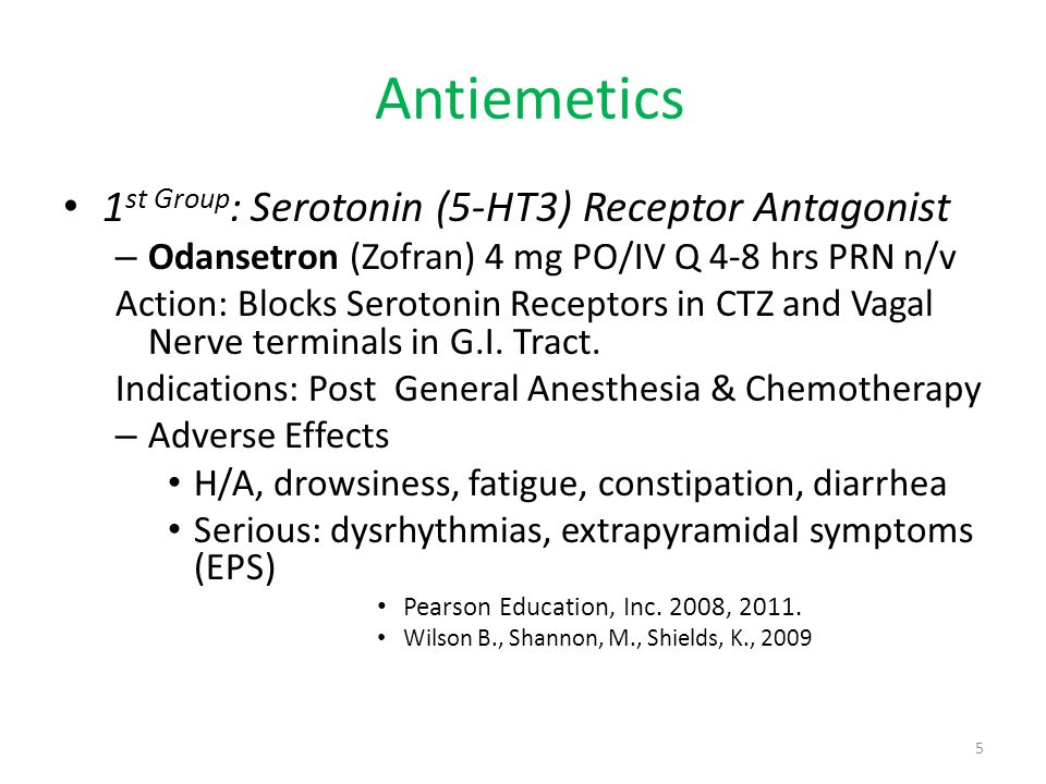 Anti-Emetics 2 nd Group : Phenothiazines (primary use as an antipsychotic) Action: affects CTZ to inhibit n/v.