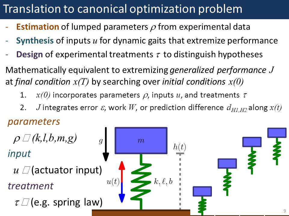 Translation to canonical optimization problem 9 -Estimation of lumped parameters  from experimental data -Synthesis of inputs u for dynamic gaits that extremize performance -Design of experimental treatments  to distinguish hypotheses Mathematically equivalent to extremizing generalized performance J at final condition x(T) by searching over initial conditions x(0) 1.