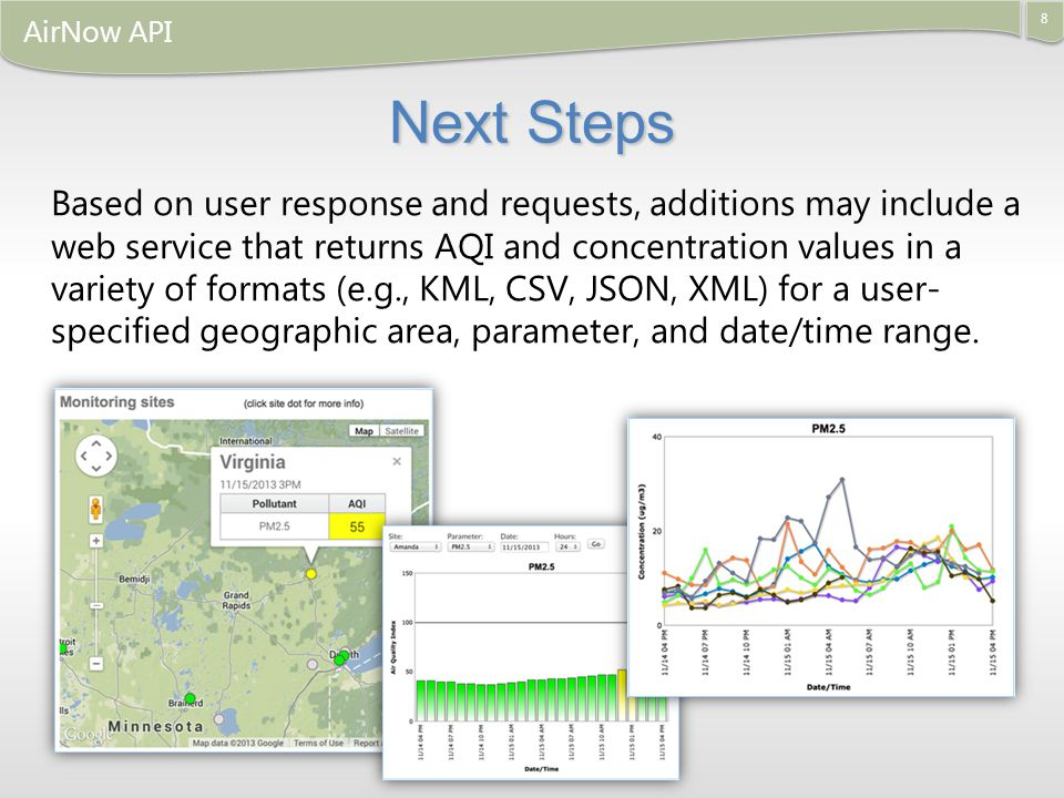 8 AirNow API Based on user response and requests, additions may include a web service that returns AQI and concentration values in a variety of formats (e.g., KML, CSV, JSON, XML) for a user- specified geographic area, parameter, and date/time range.