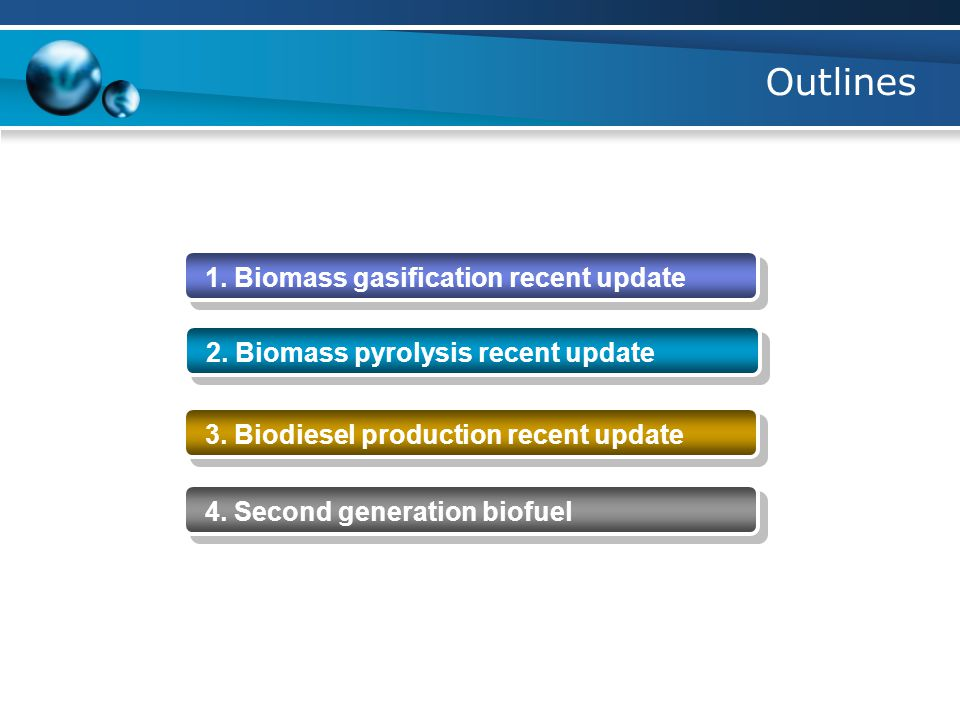 Outlines 1. Biomass gasification recent update 2.
