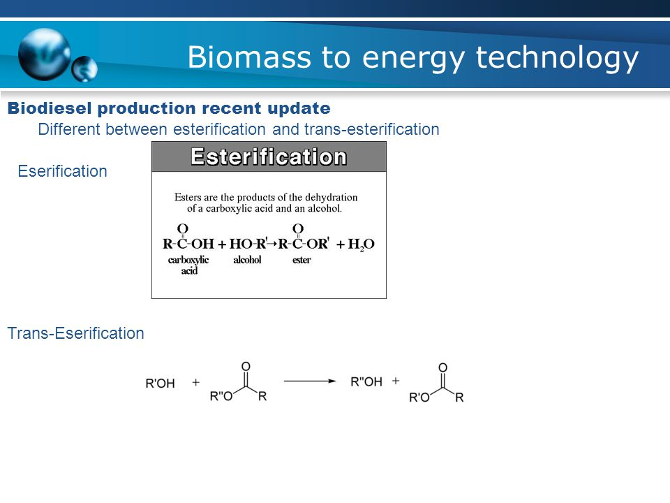 Biomass to energy technology Biodiesel production recent update Different between esterification and trans-esterification Eserification Trans-Eserification