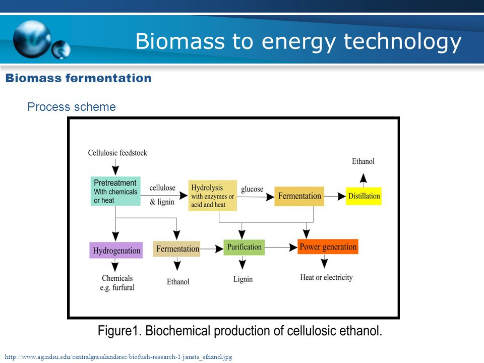 Biomass to energy technology Biomass fermentation Process scheme http://www.ag.ndsu.edu/centralgrasslandsrec/biofuels-research-1/janets_ethanol.jpg