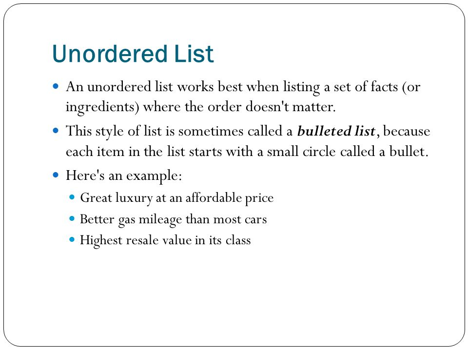 Creating a Numbered List The tags for an ordered (numbered) list are almost identical to those of an unordered list.