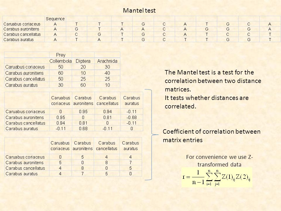 Mantel test Coefficient of correlation between matrix entries For convenience we use Z- transformed data The Mantel test is a test for the correlation between two distance matrices.