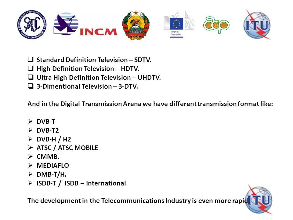  Standard Definition Television – SDTV.  High Definition Television – HDTV.