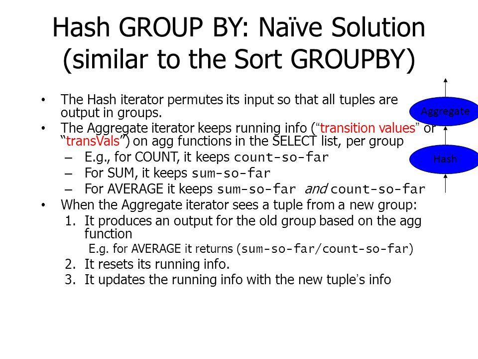 Hash GROUP BY: Naïve Solution (similar to the Sort GROUPBY) The Hash iterator permutes its input so that all tuples are output in groups. The Aggregat