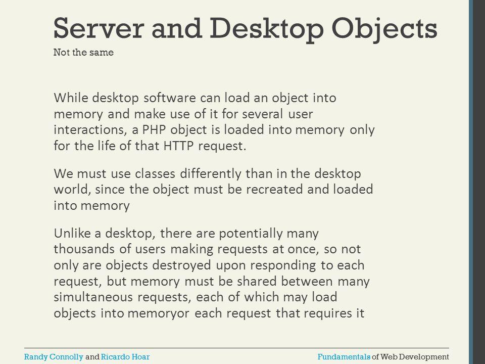 Fundamentals of Web DevelopmentRandy Connolly and Ricardo HoarFundamentals of Web DevelopmentRandy Connolly and Ricardo Hoar Server and Desktop Object