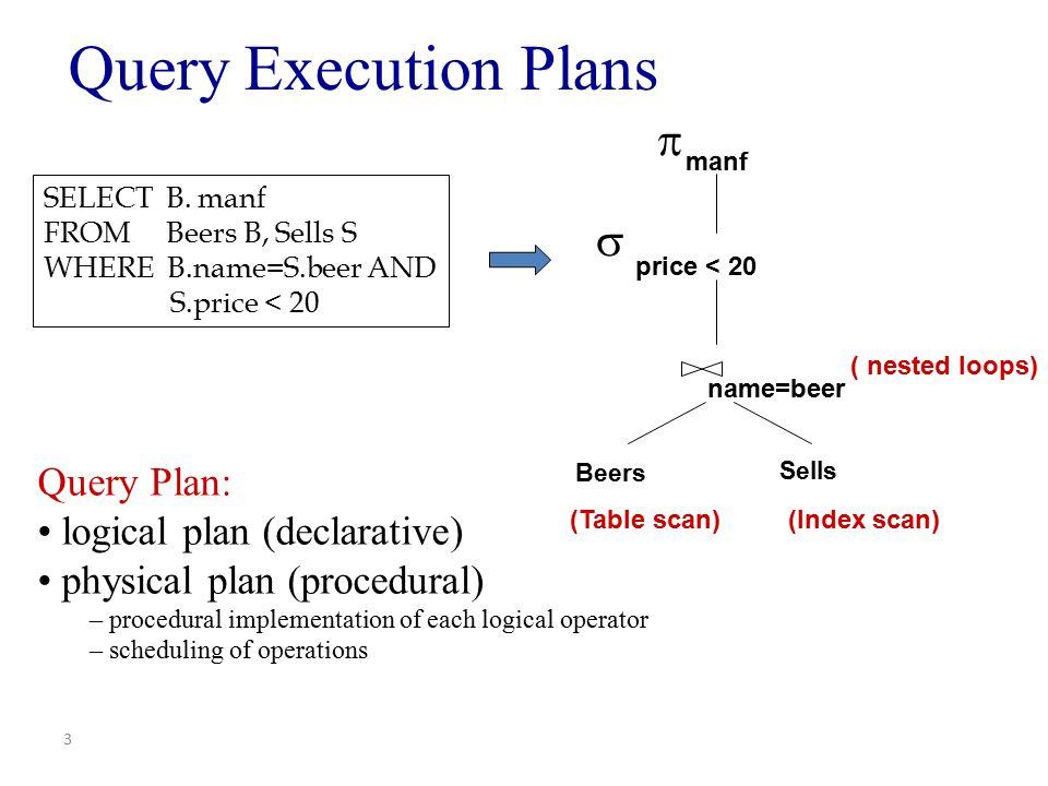Logical versus physical operators Logical operators – Relational Algebra Operators Join, Selection, Projection, Union, … Physical operators – Algorithms to implement logical operators.