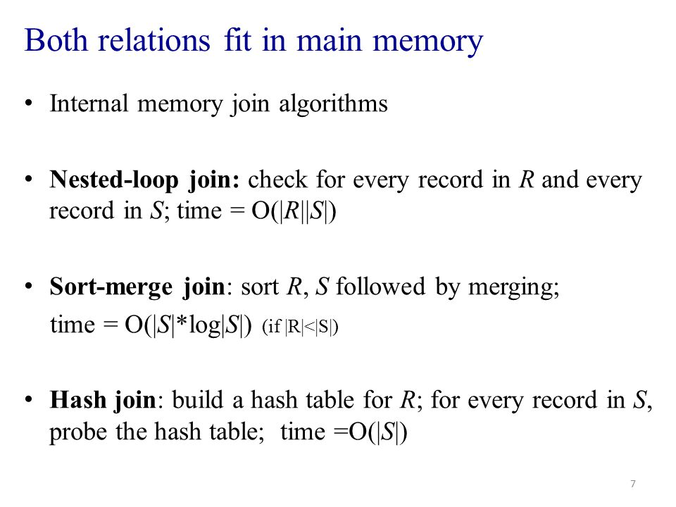 External memory join algorithms At least one relation does not fit into main memory I/O access is the dominant cost – B(R): number of blocks of R.