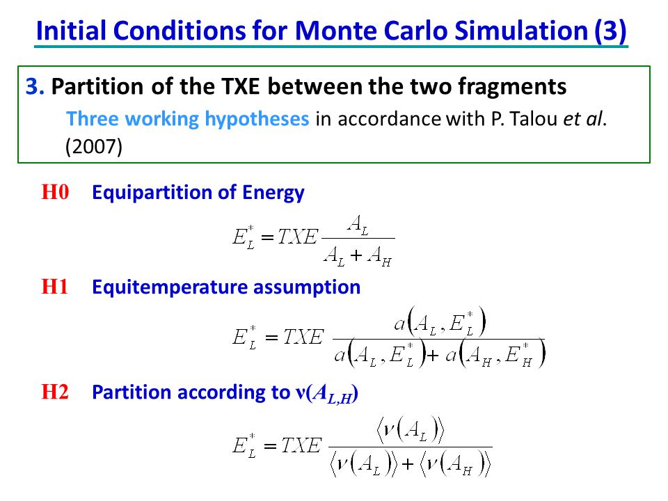 3. Partition of the TXE between the two fragments Three working hypotheses in accordance with P. Talou et al. (2007) Initial Conditions for Monte Carl