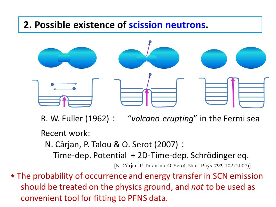 "2. Possible existence of scission neutrons. [N. Cârjan, P. Talou and O. Serot, Nucl. Phys. 792, 102 (2007)] R. W. Fuller (1962) : ""volcano erupting"" i"