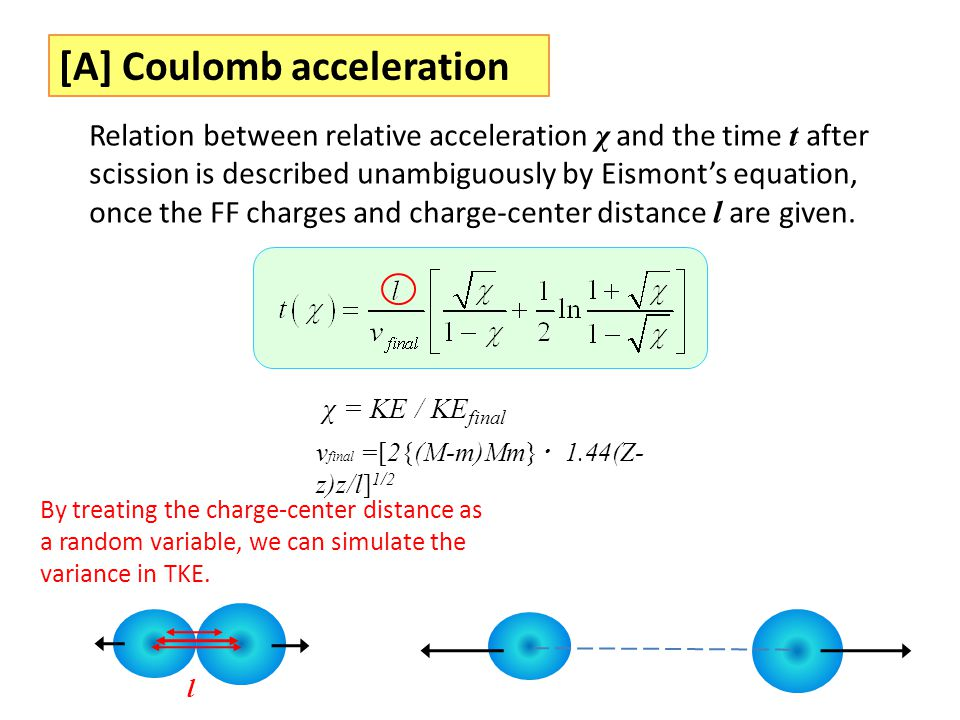 [A] Coulomb acceleration χ = KE / KE final v final =[2{(M-m)Mm} ・ 1.44(Z- z)z/l] 1/2 Relation between relative acceleration χ and the time t after sci