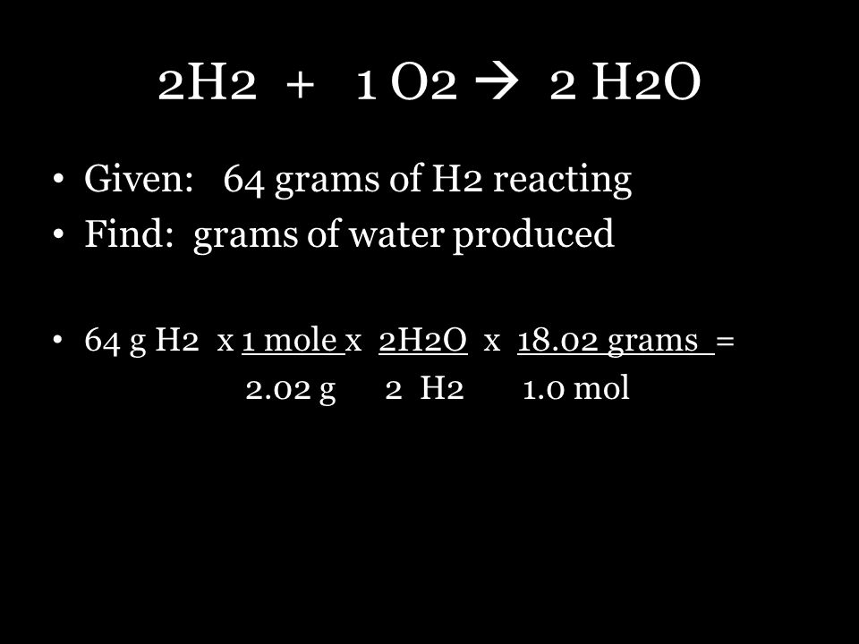 2H2 + 1 O2  2 H2O Given: 64 grams of H2 reacting Find: grams of water produced 64 g H2 x 1 mole x 2H2O x 18.02 grams = 2.02 g 2 H2 1.0 mol