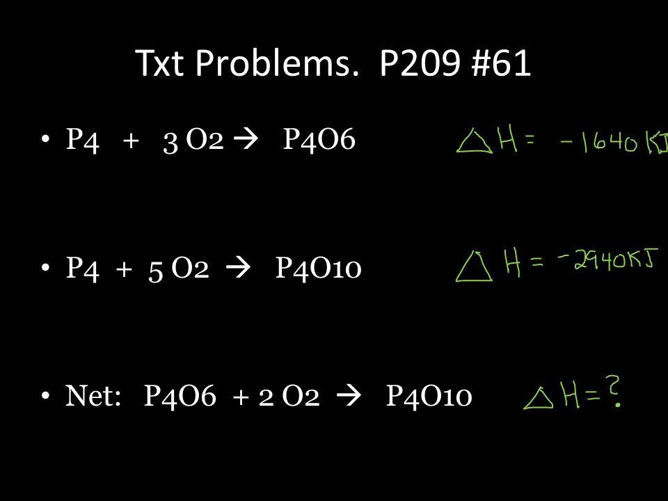 Txt Problems. P209 #61 P4 + 3 O2  P4O6 P4 + 5 O2  P4O10 Net: P4O6 + 2 O2  P4O10