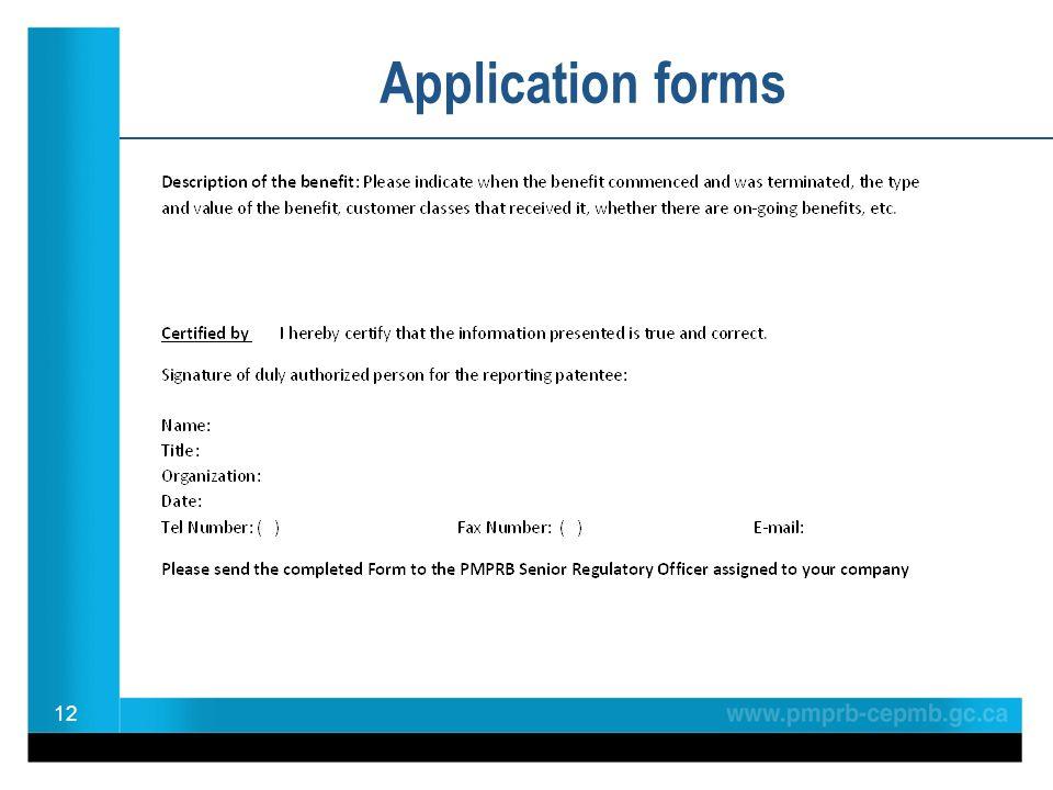 12 Application forms