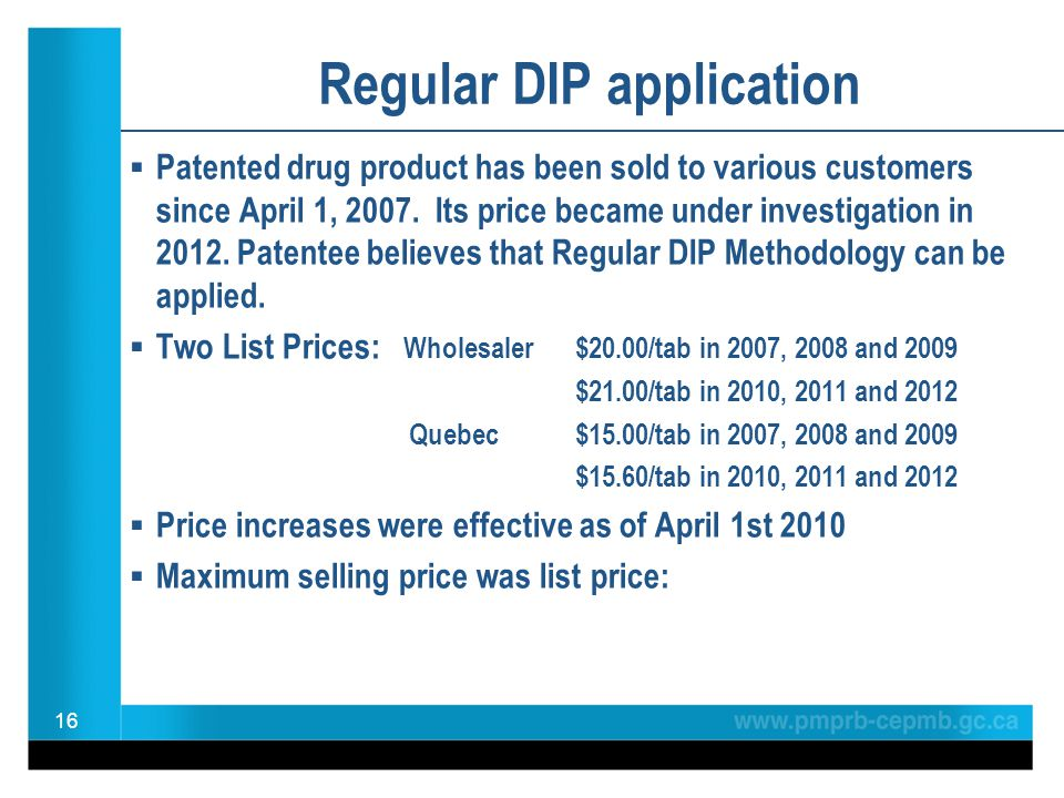  Patented drug product has been sold to various customers since April 1, 2007. Its price became under investigation in 2012. Patentee believes that R