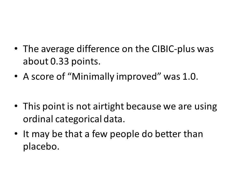 The average difference on the CIBIC-plus was about 0.33 points.