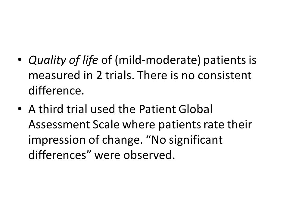 Quality of life of (mild-moderate) patients is measured in 2 trials.
