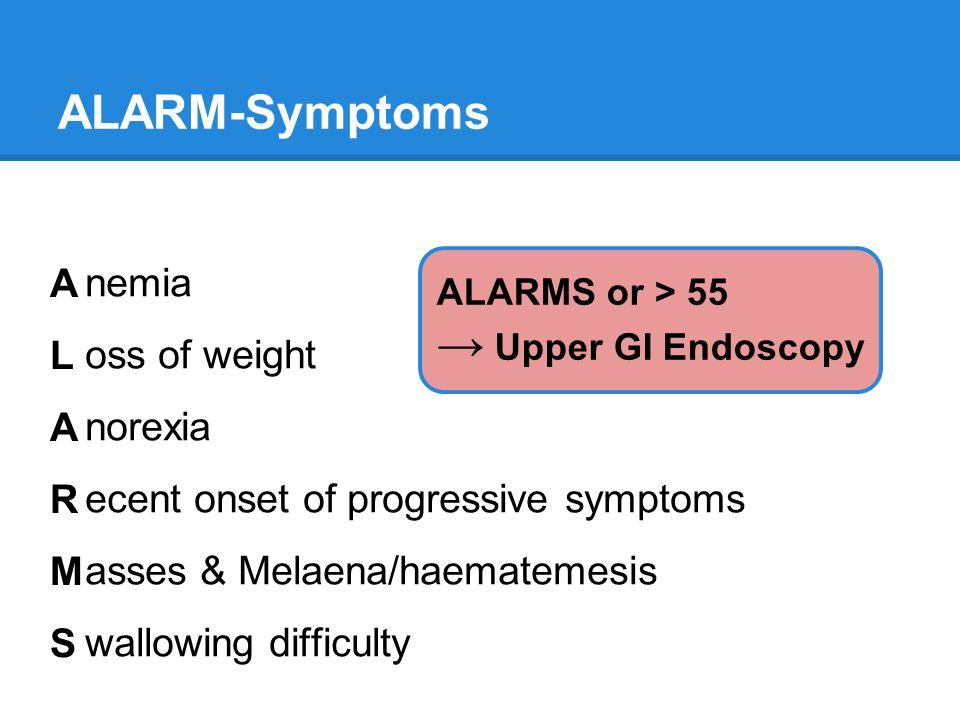 ALARM-Symptoms ALARMSALARMS nemia oss of weight norexia ecent onset of progressive symptoms asses & Melaena/haematemesis wallowing difficulty ALARMS o