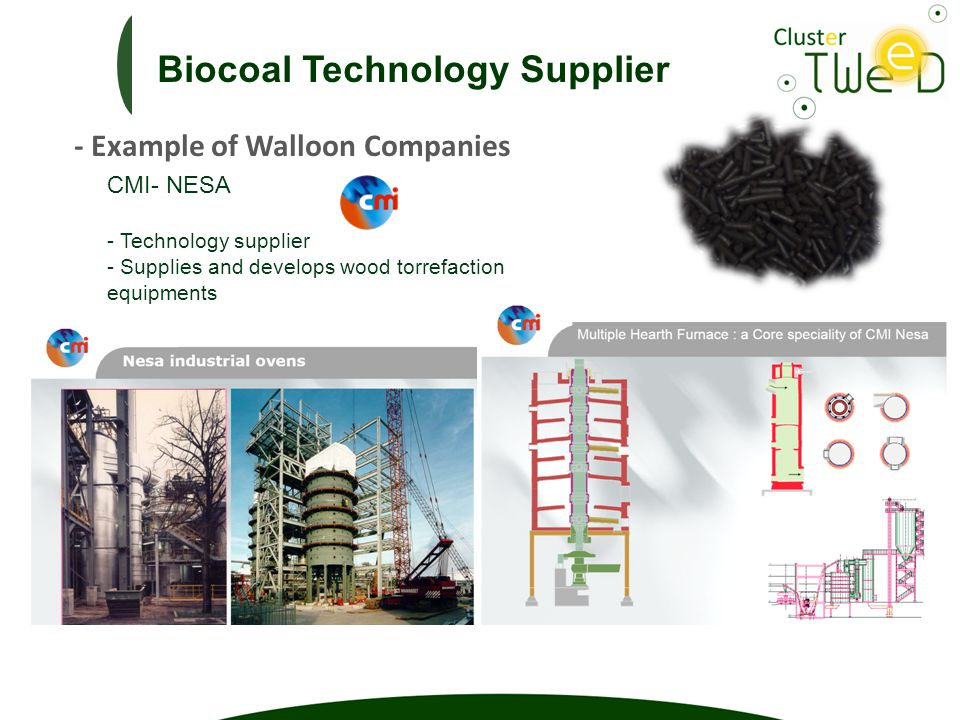 CMI- NESA - Technology supplier - Supplies and develops wood torrefaction equipments Biocoal Technology Supplier - Example of Walloon Companies