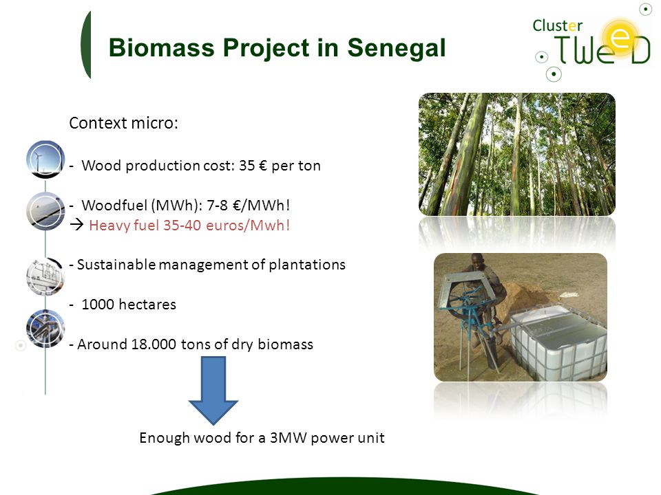 Context micro: - Wood production cost: 35 € per ton - Woodfuel (MWh): 7-8 €/MWh.