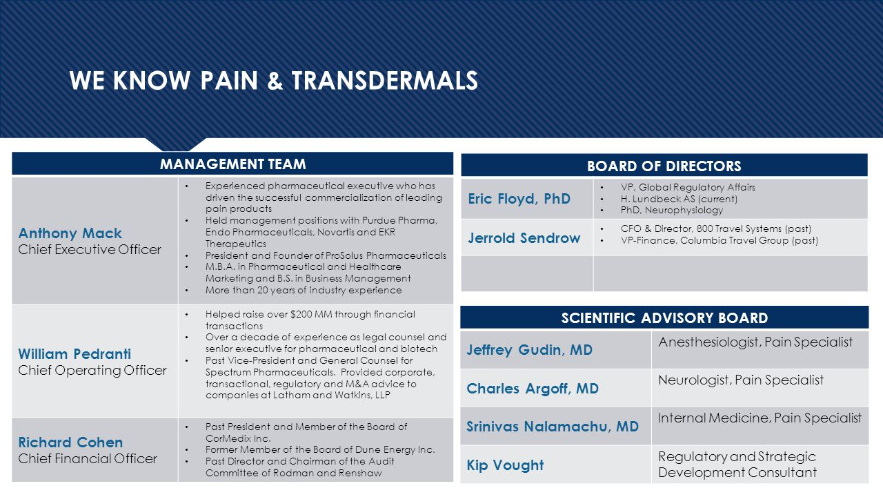 4 WE KNOW PAIN & TRANSDERMALS MANAGEMENT TEAM Anthony Mack Chief Executive Officer Experienced pharmaceutical executive who has driven the successful