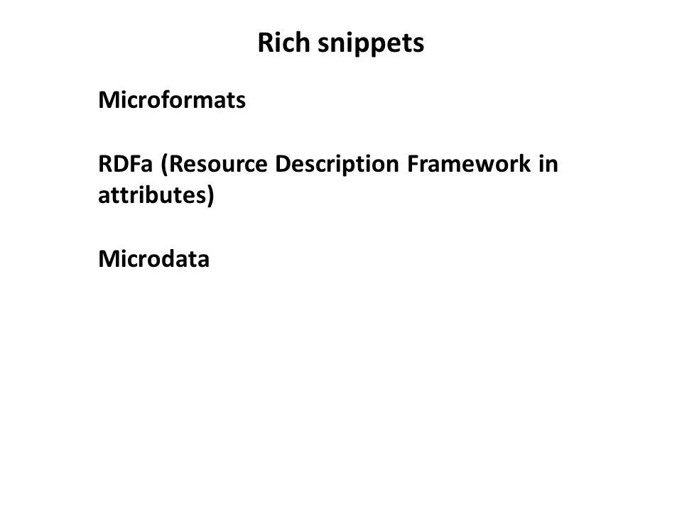 Rich snippets Microformats RDFa (Resource Description Framework in attributes) Microdata