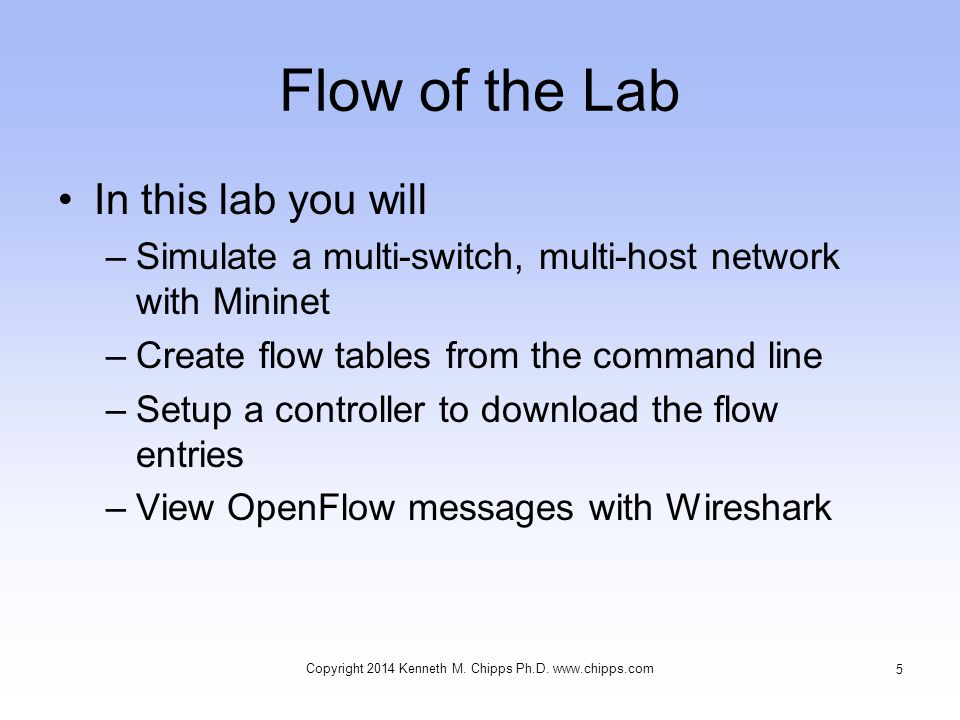 Flow of the Lab After the tutorial, you can apply what you ve learned to physical networks based on software switches or SDN capable hardware switches at line rate Here are the steps we will go through Copyright 2014 Kenneth M.