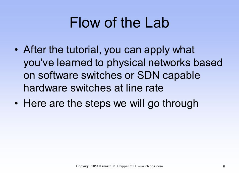 Flow of the Lab –Download the virtual machine –Setup the virtual machine –Check the setup in Linux –Create the network –Examine the network –Work with basic OpenFlow commands –Add a controller Copyright 2014 Kenneth M.