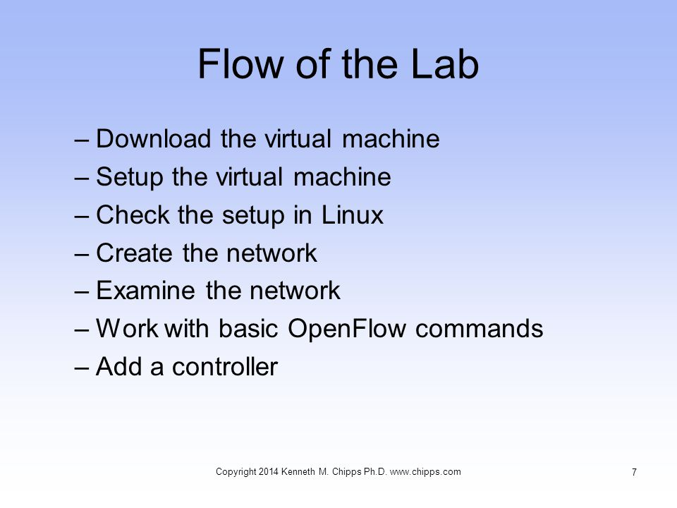 Work With OpenFlow Copyright 2014 Kenneth M. Chipps Ph.D. www.chipps.com 38