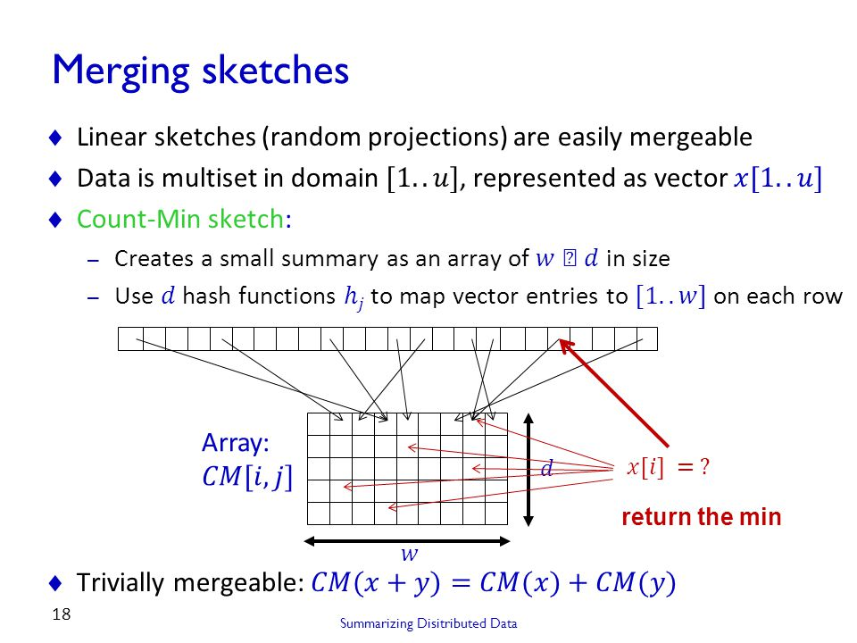 Summarizing Disitributed Data 18 Merging sketches return the min