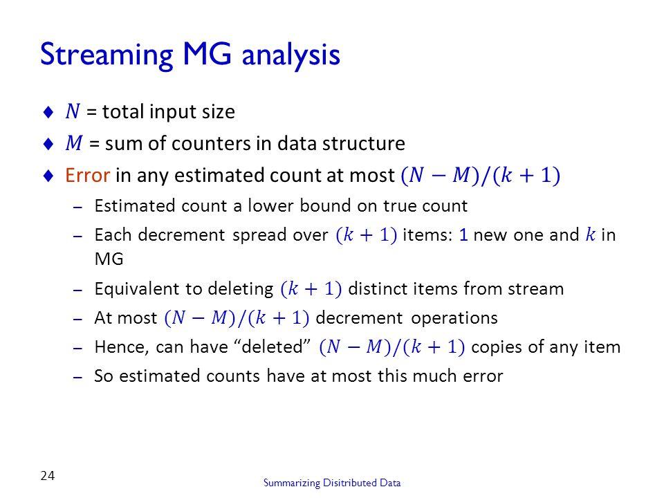 Summarizing Disitributed Data 24 Streaming MG analysis