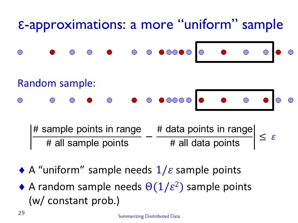 ε -approximations: a more uniform sample Summarizing Disitributed Data 29 Random sample: