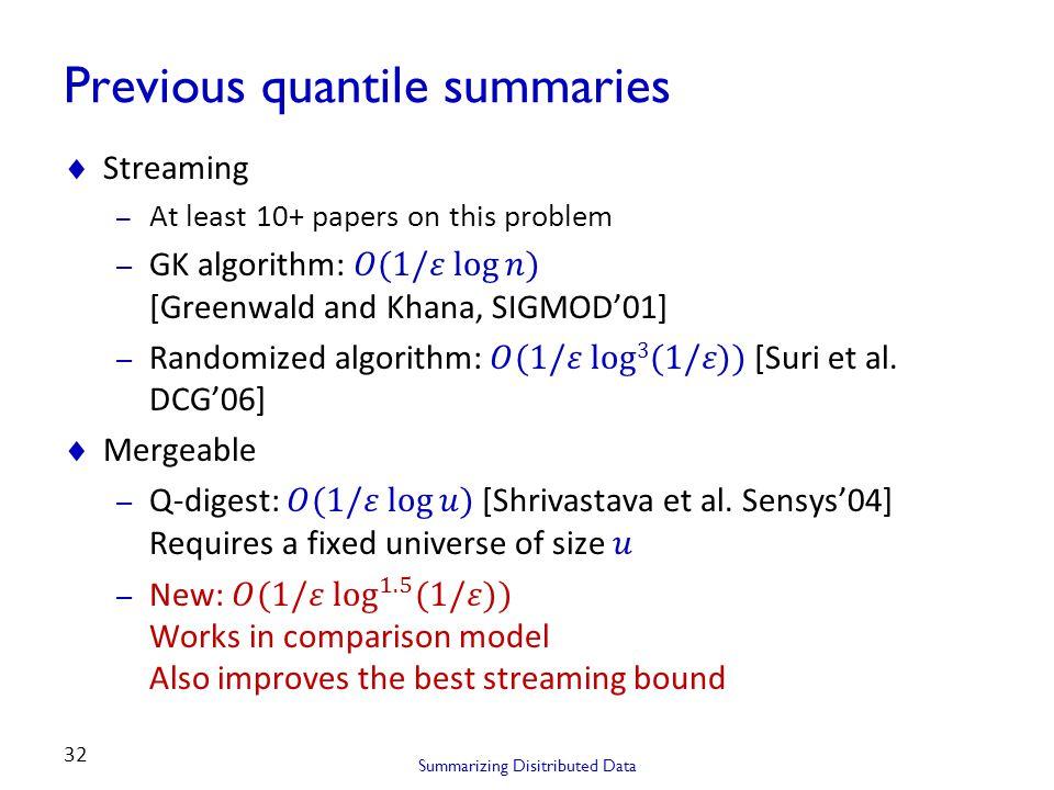 Previous quantile summaries Summarizing Disitributed Data 32