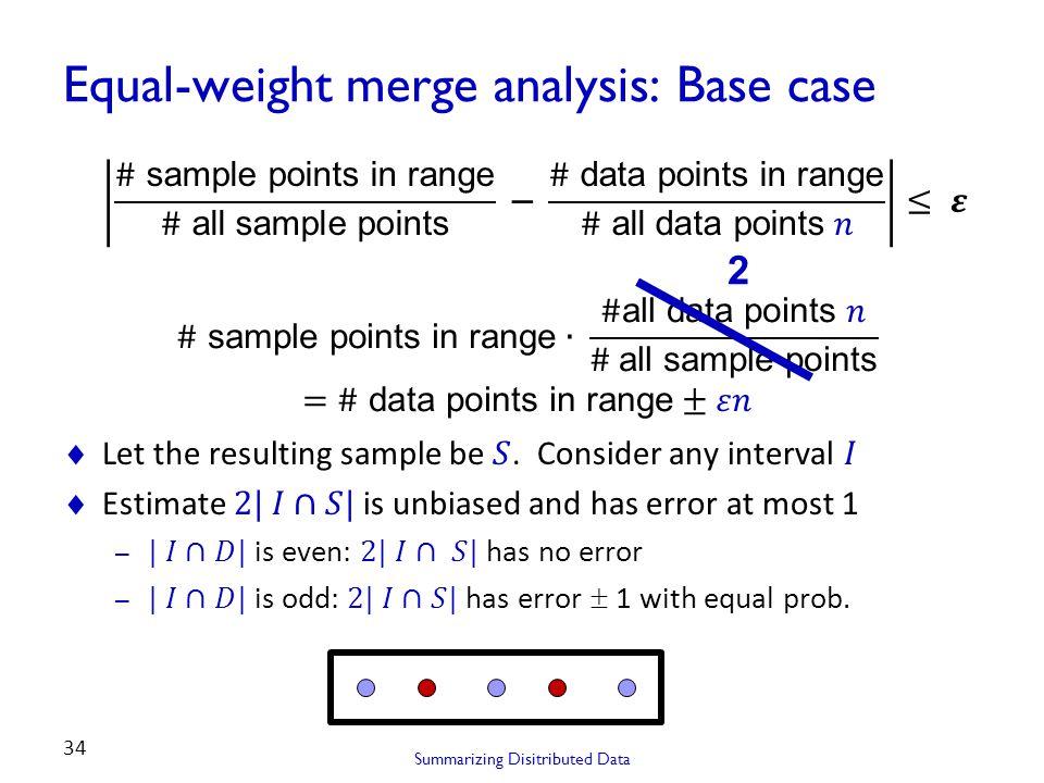 Equal-weight merge analysis: Base case Summarizing Disitributed Data 34 2