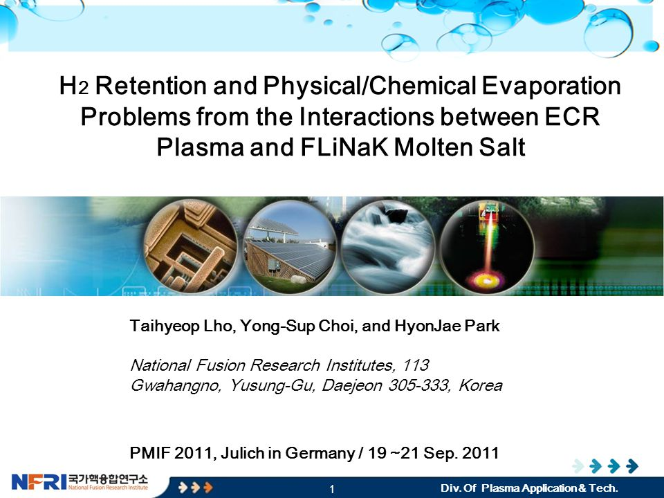 2 CPC : Convergence Plasma research Center CONTENTS of PRESENTATION  Introduction - Objectives  Experimental Setup o Plasma Parameters o Magnetic field structure  Interaction between the plasma and molten salt (FLiNaK) o Ar plasma o H 2 Plasma  Hydrogen retention  Morphology  Future Plan - Research Load Map