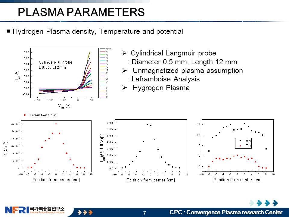 7 CPC : Convergence Plasma research Center ■ Hydrogen Plasma density, Temperature and potential PLASMA PARAMETERS  Cylindrical Langmuir probe : Diameter 0.5 mm, Length 12 mm  Unmagnetized plasma assumption : Laframboise Analysis  Hygrogen Plasma