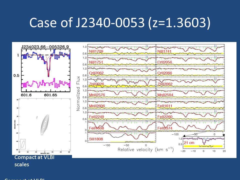 Case of J2340-0053 (z=1.3603) CapeTown - 2012 Case of J2340-0053 (z=1.3603) Compact at VLBI scales Rahmani et al. 2012 Compact at VLBI scales