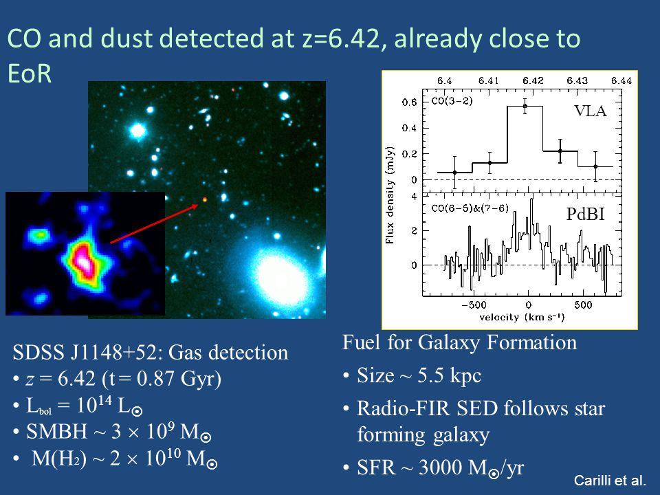 SDSS J1148+52: Gas detection z = 6.42 (t = 0.87 Gyr) L bol = 10 14 L  SMBH ~ 3  10 9 M  M(H 2 ) ~ 2  10 10 M  VLA PdBI Fuel for Galaxy Formation