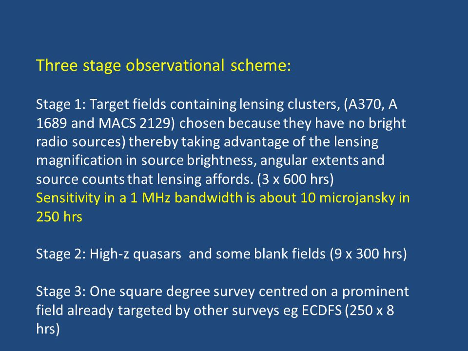 Three stage observational scheme: Stage 1: Target fields containing lensing clusters, (A370, A 1689 and MACS 2129) chosen because they have no bright radio sources) thereby taking advantage of the lensing magnification in source brightness, angular extents and source counts that lensing affords.